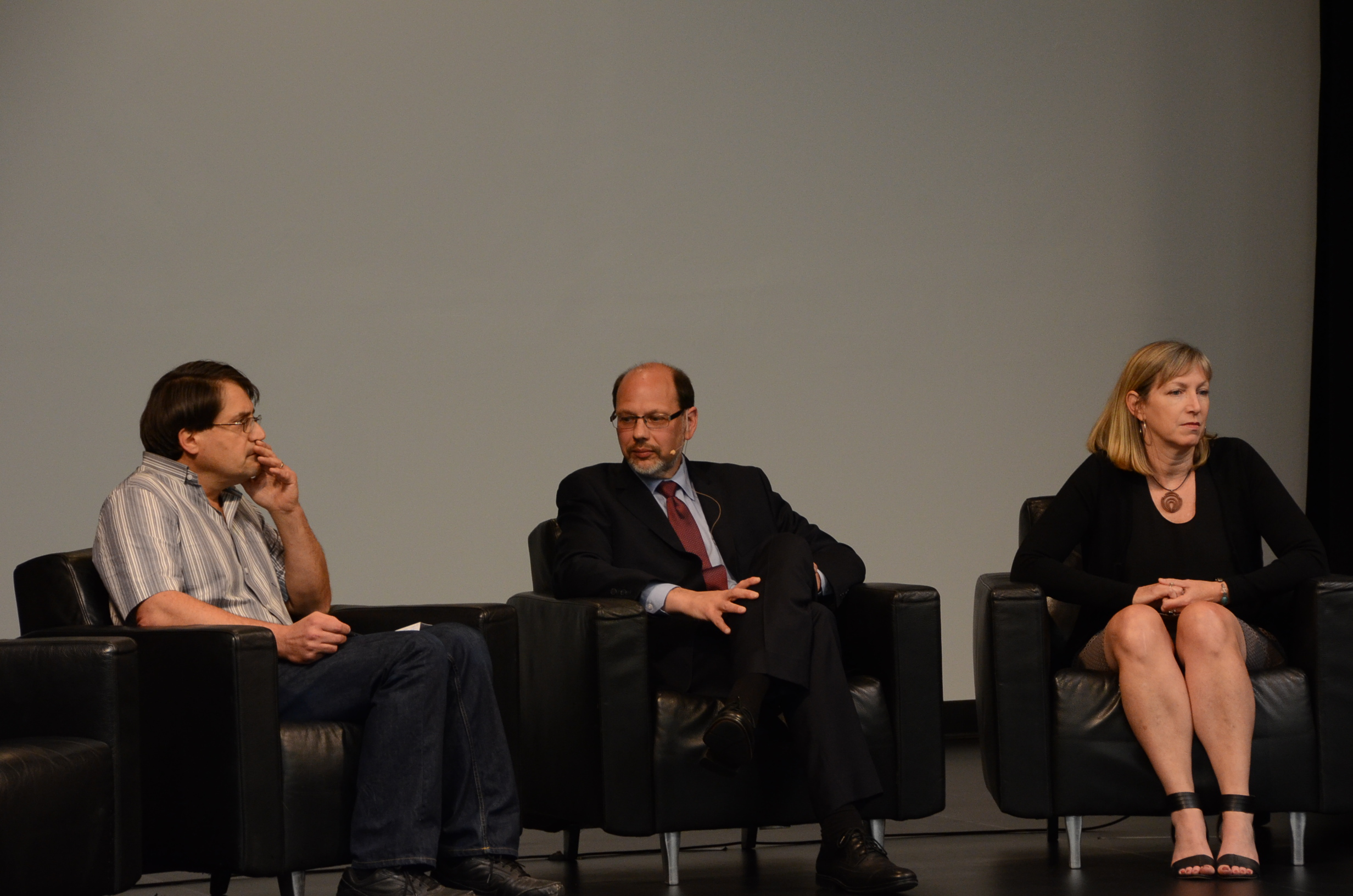 Panel with (from left) Chris Cowie from Community Justice Initiatives, (off camera) Joe Mancini from the Working Centre, Howard Sapers, Julie Thompson from CJI, and Dionne, (not seen, pseudonym), a former federal inmate.