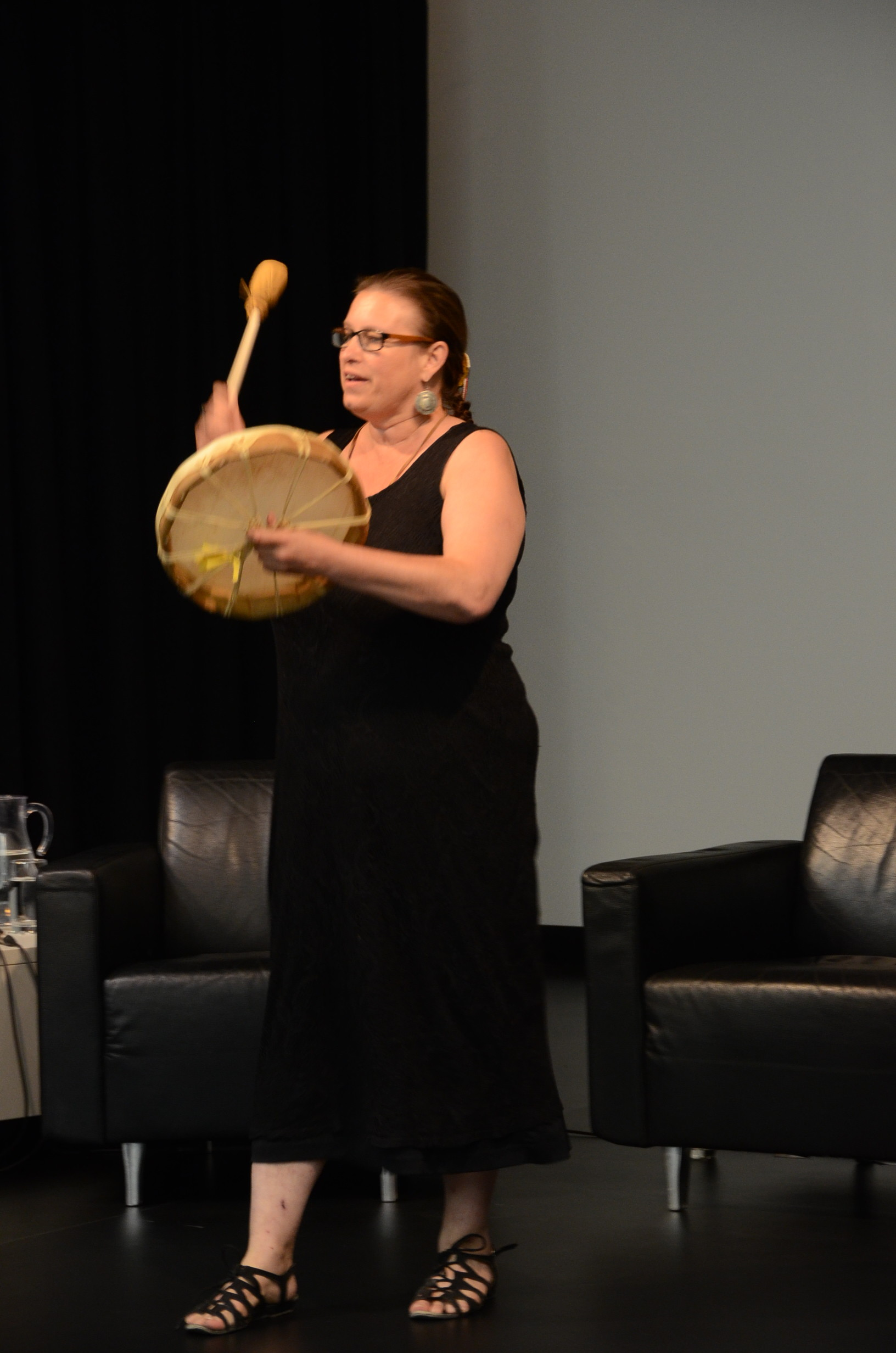 Aboriginal drummer Heather Majuary closed the event with drumming in honour of incarcerated Aboriginal lands.