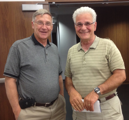 Regional Chair Ken Seiling with former parole officer Mark Yantzi, a pioneer in the field of restorative justice